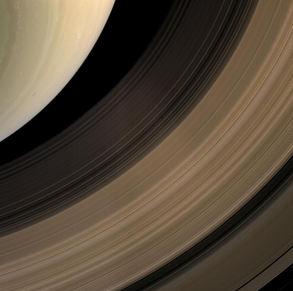 The Cassini spacecraft samples a bit of Saturn's southern hemisphere along with a spread of the planet's main rings.