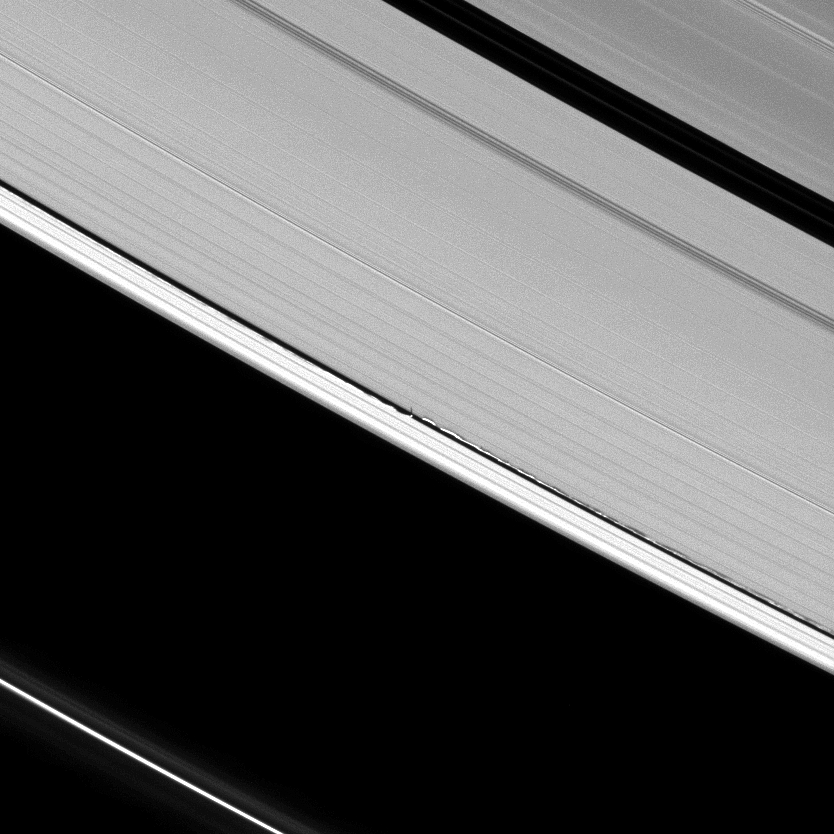 Never-before-seen tall vertical structures created by Saturn's moon Daphnis rise above the planet's otherwise flat, thin disk of rings to cast long shadows in this Cassini image.