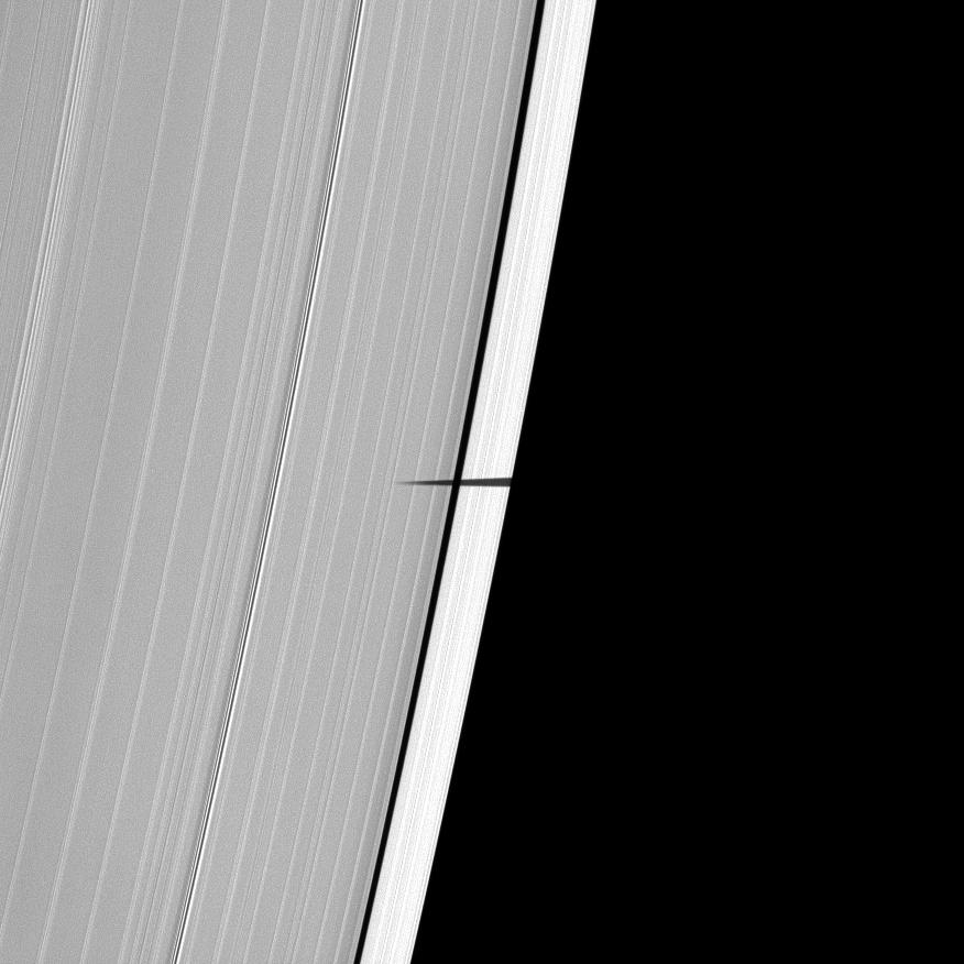 For the first time, the Cassini spacecraft captures the shadow of Saturn's tiny moon Pandora sneaking onto the planet's main rings.