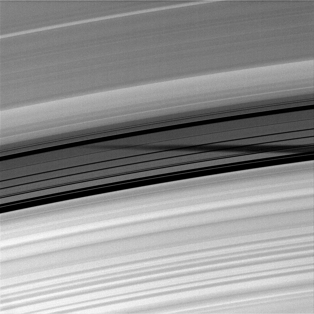 Mimas' shadow and Saturn's rings
