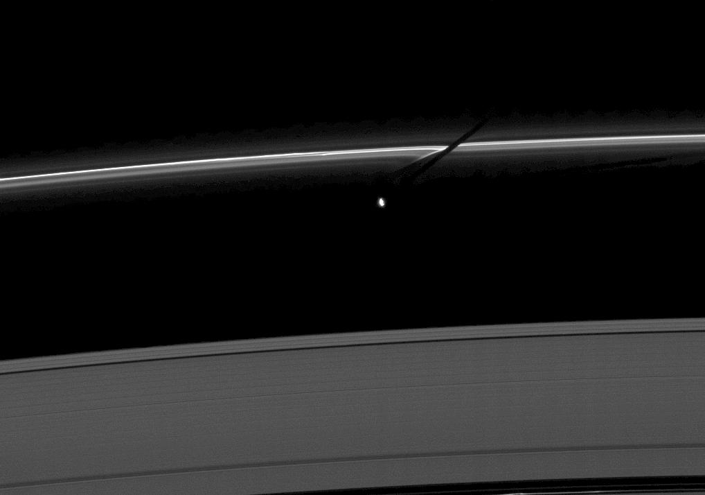 Prometheus casts a shadow on the thin F ring