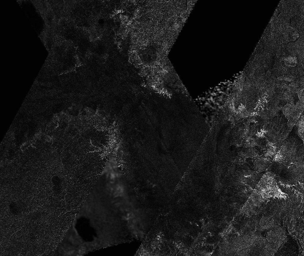 mosaic of image swaths from Cassini's Titan Radar Mapper
