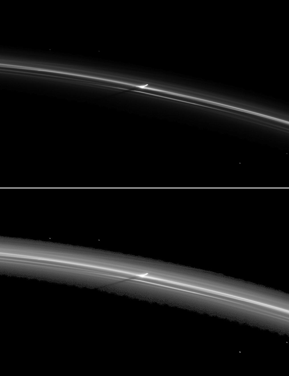 a shadow is cast by a narrow, vertically extended feature in the F ring.