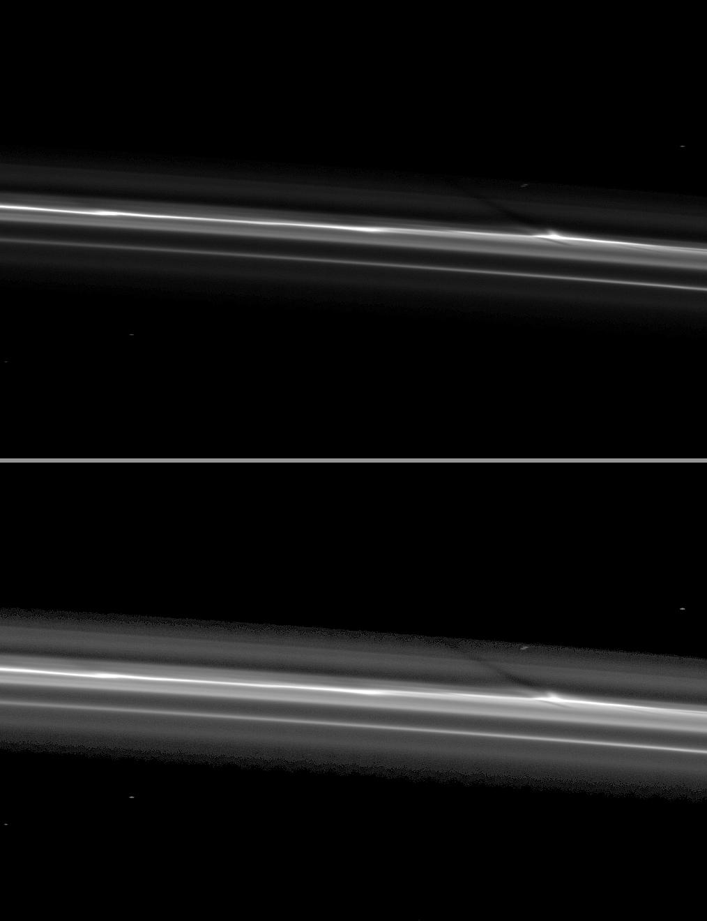 Cassini spies a shadow cast by a vertically extended structure or object in the F ring in this image taken as Saturn approaches its August 2009 equinox.