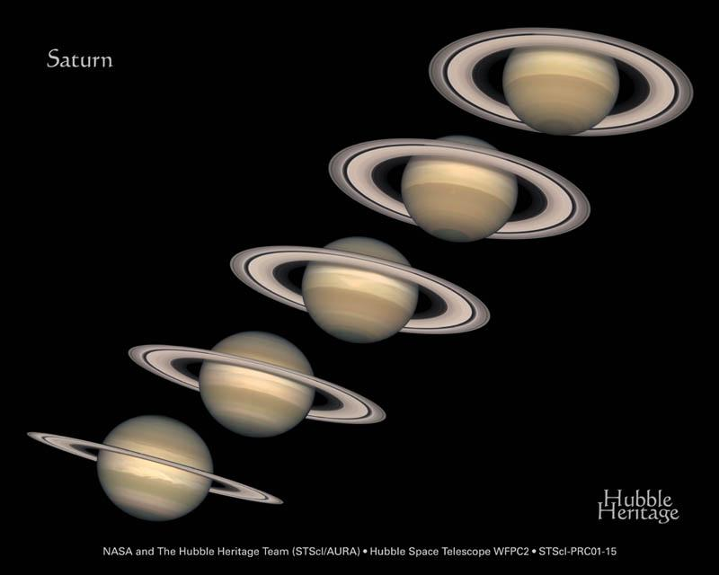Five Saturn images, from 1996 to 2000