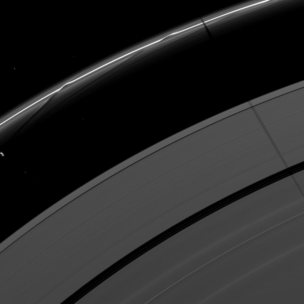Janus casts a shadow on the F and A rings while Prometheus creates a streamer-channel in the thin F ring.