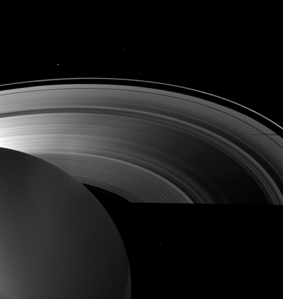 Tethys casts a shadow on the planet's A ring