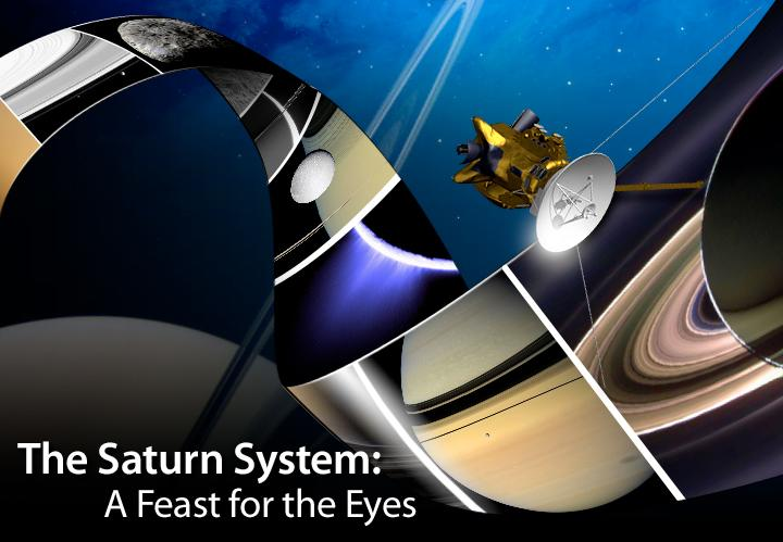 The Saturn System: A Feast for the Eyes  -- artists rendition of the Cassini spacecraft shown among images it has returned from the Saturnian system