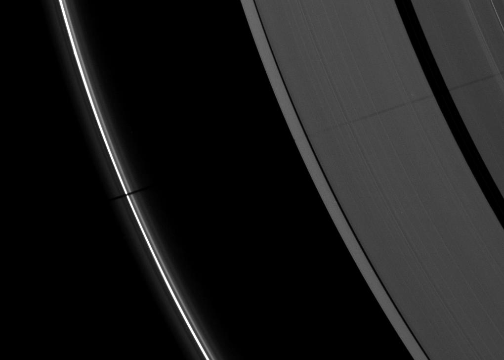 Saturn's A ring and thin F ring
