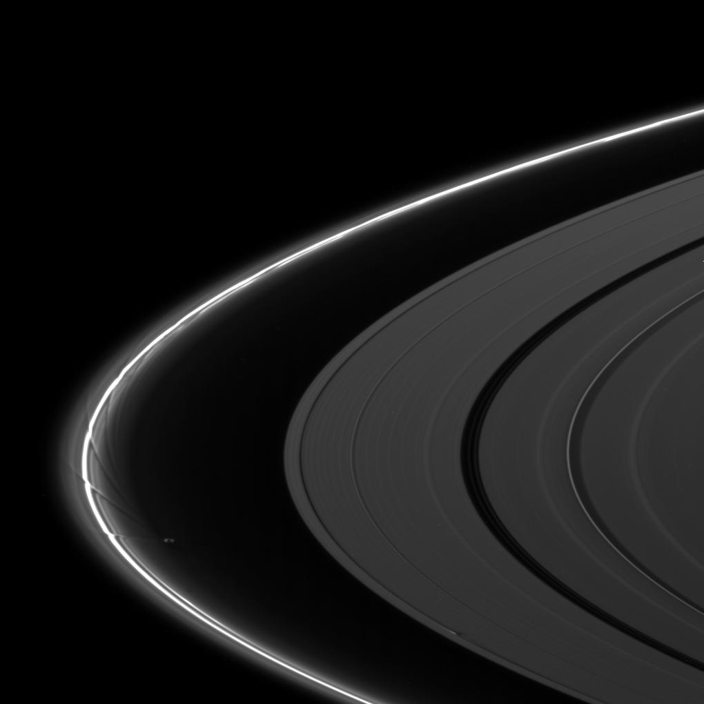 The moon Prometheus creates an intricate pattern of perturbation in Saturn's F ring while the moon Daphnis disturbs the A ring