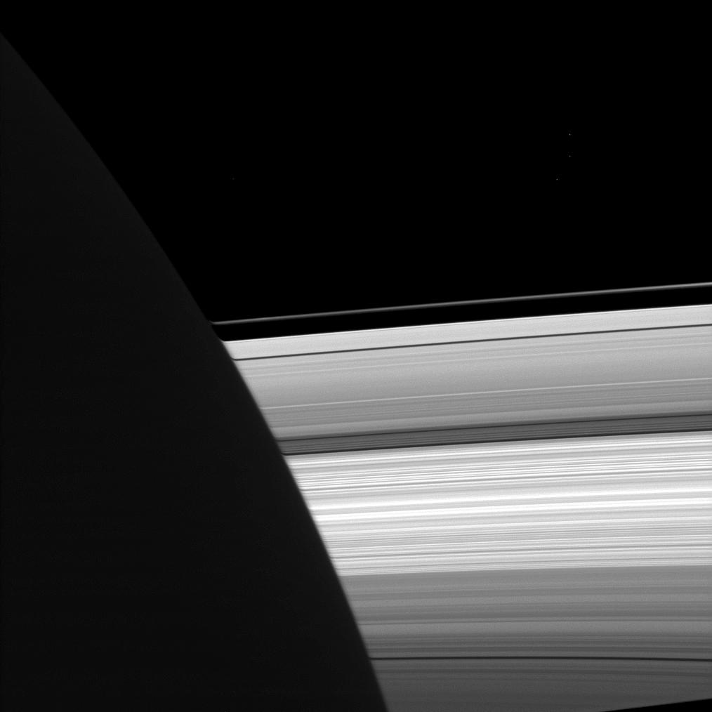 A subtly distorted view of Saturn's rings.