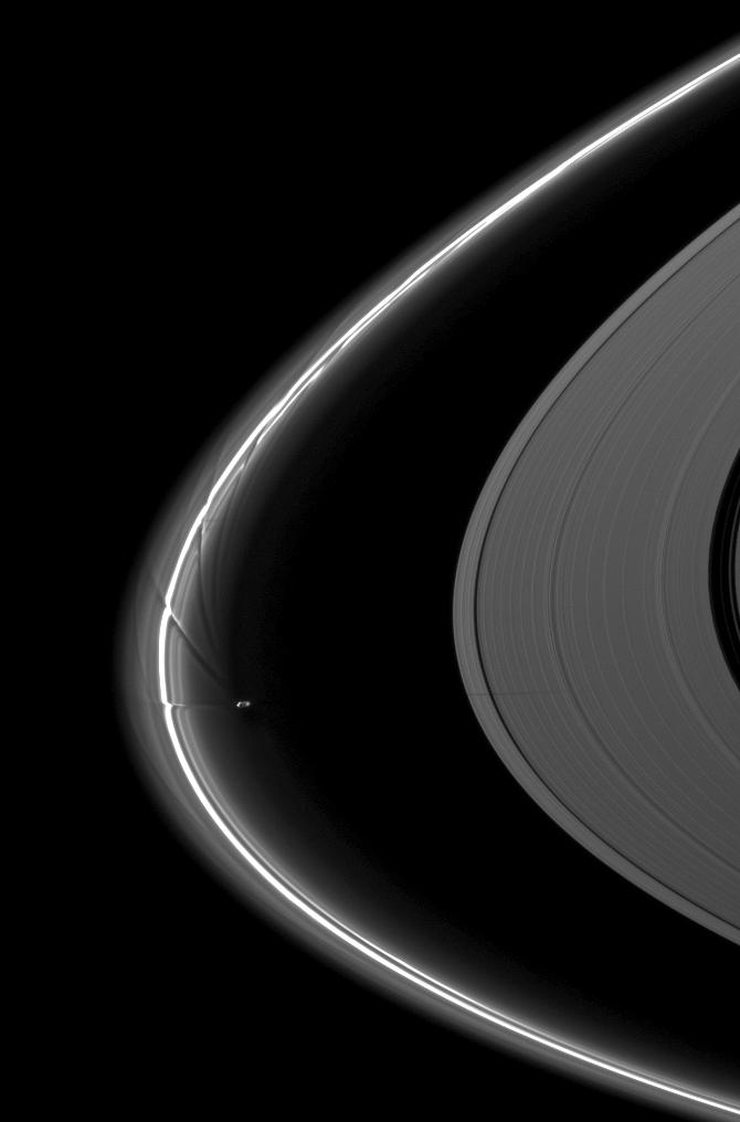 Prometheus near the streamer-channels it has created in Saturn's thin F ring