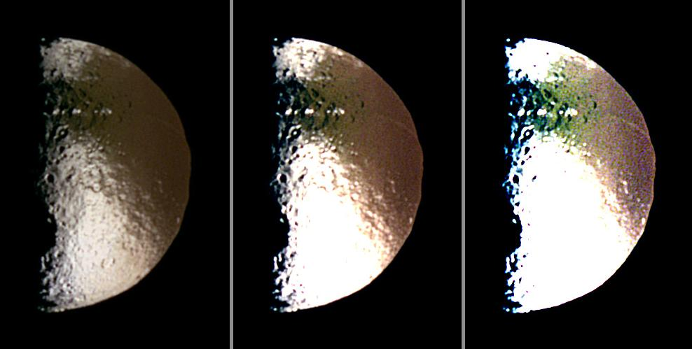 Three different false-color views of Saturn's moon Iapetus
