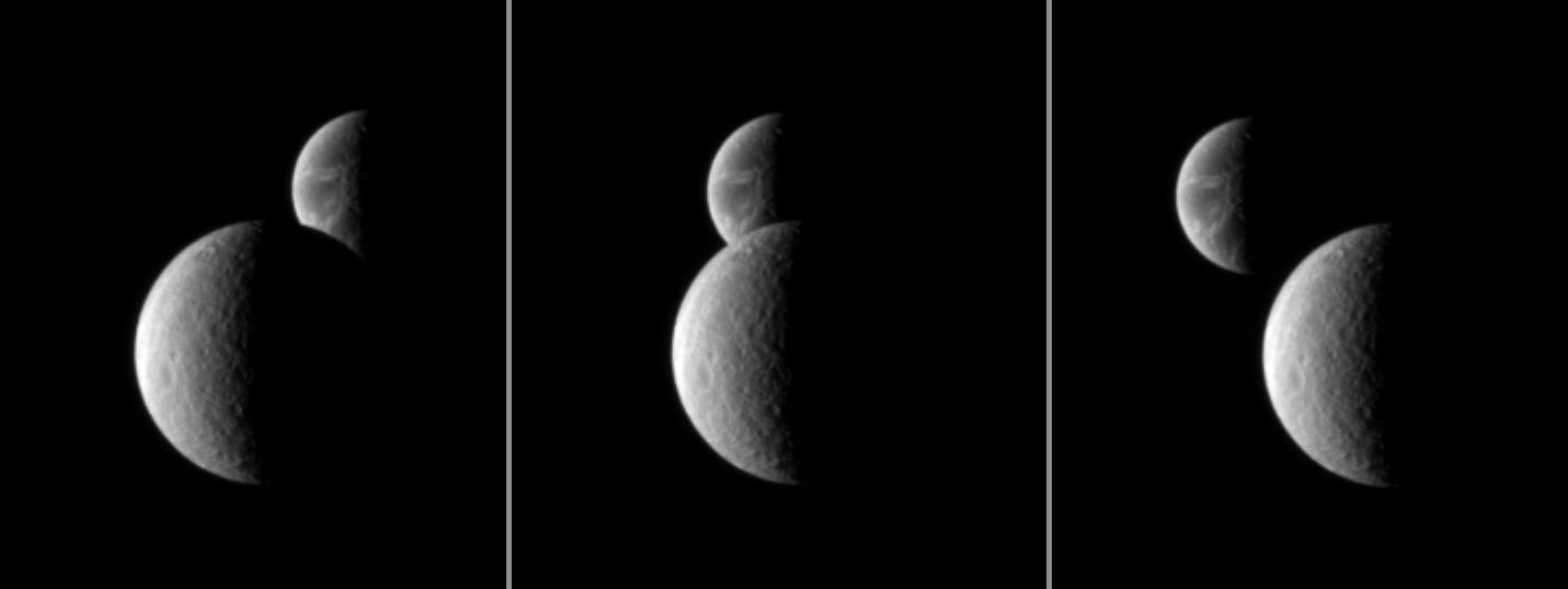 Three views of Saturn's moon Rhea as it passes in front of Dione, as seen from the Cassini spacecraft.