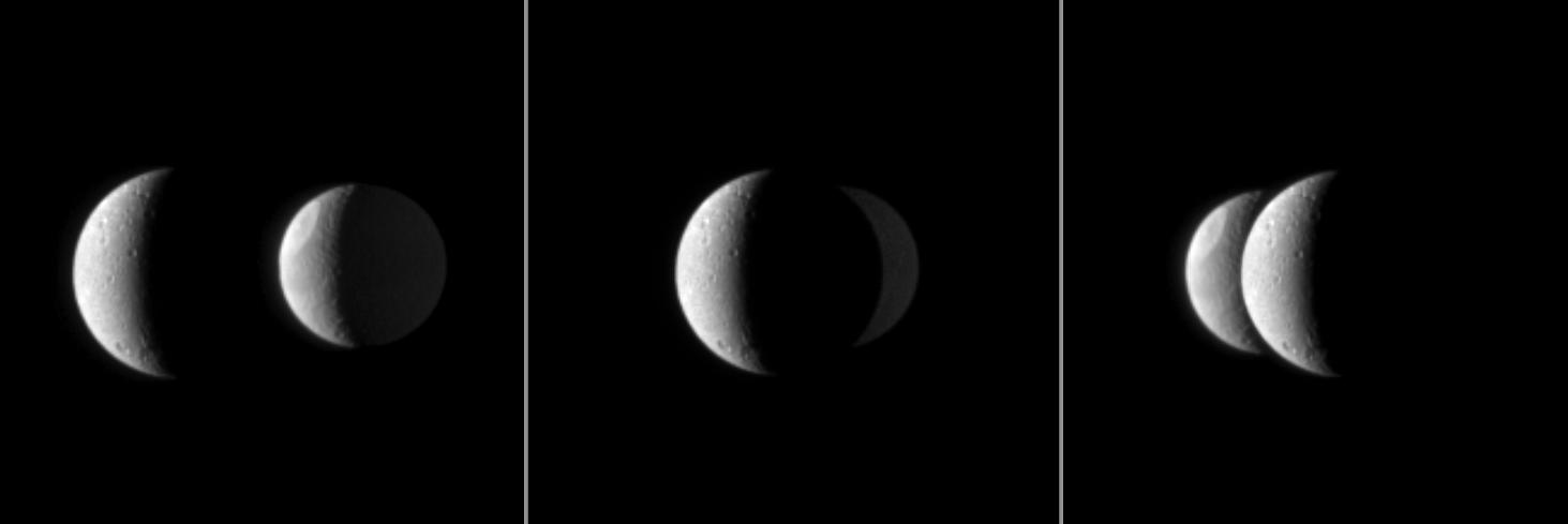 Dione passes in front of Tethys In these three images