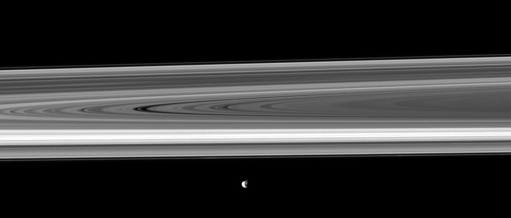 Saturn's moon Janus passes before the planet's rings