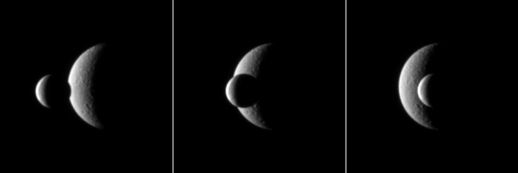 Enceladus passes in front of Rhea