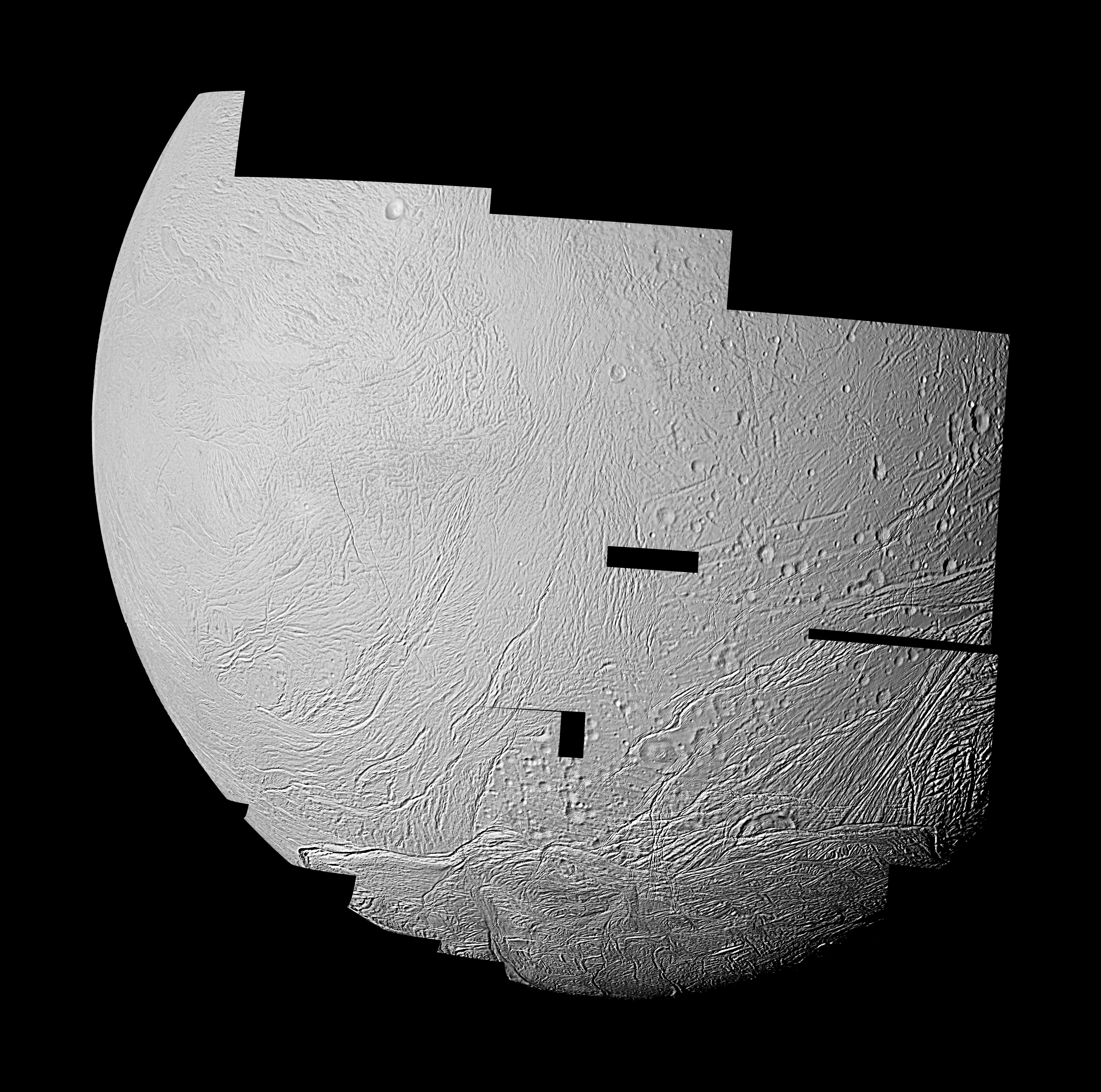 This mosaic features the highest resolution data yet captured by NASA's Cassini spacecraft of the leading, or western, hemisphere of Saturn's moon Enceladus.