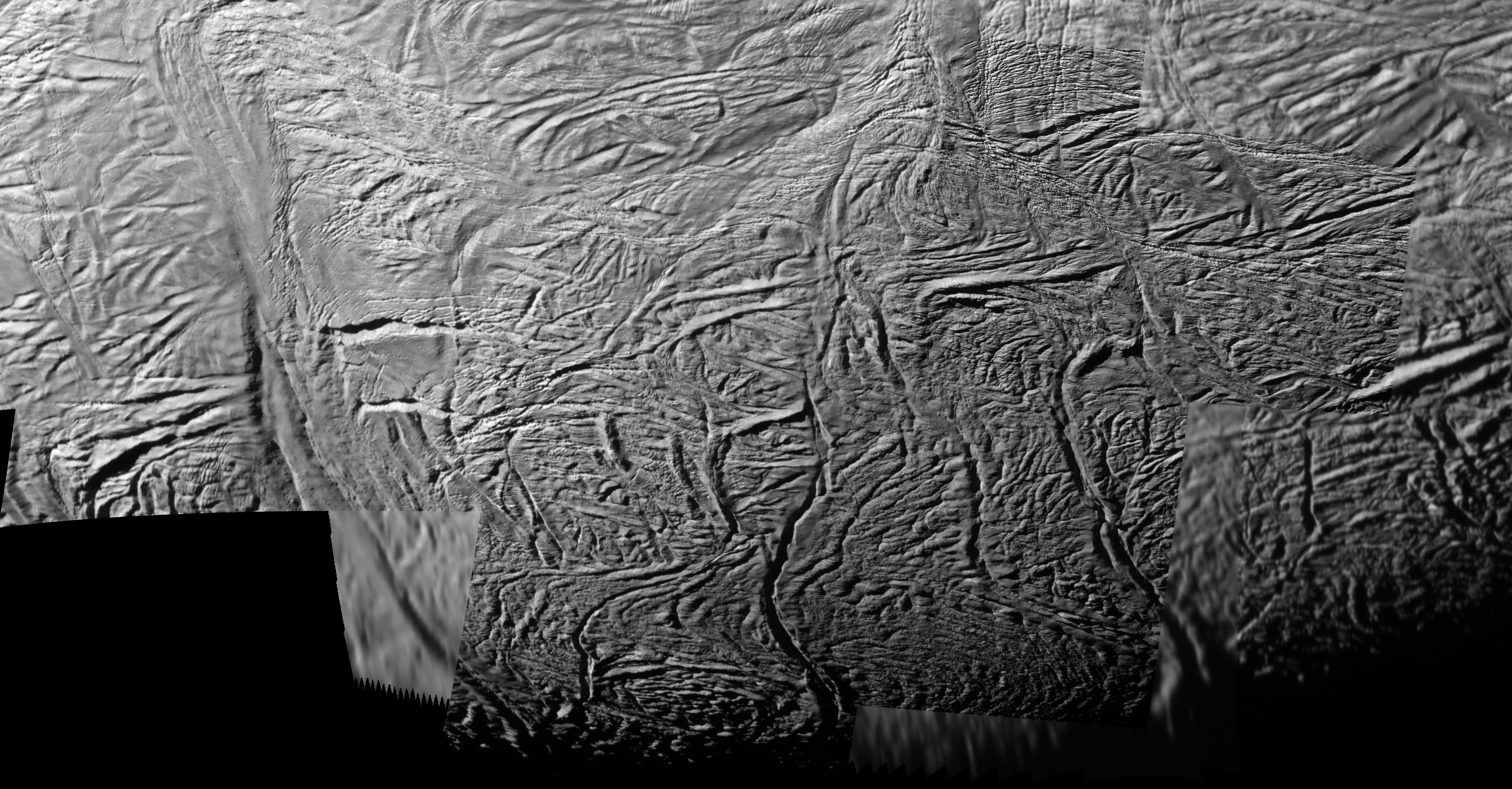 This mosaic shows extraordinary details of tectonic deformation in the fractured south polar region of Saturn's moon Enceladus, where jets of water ice spray outward to form Saturn's E ring.