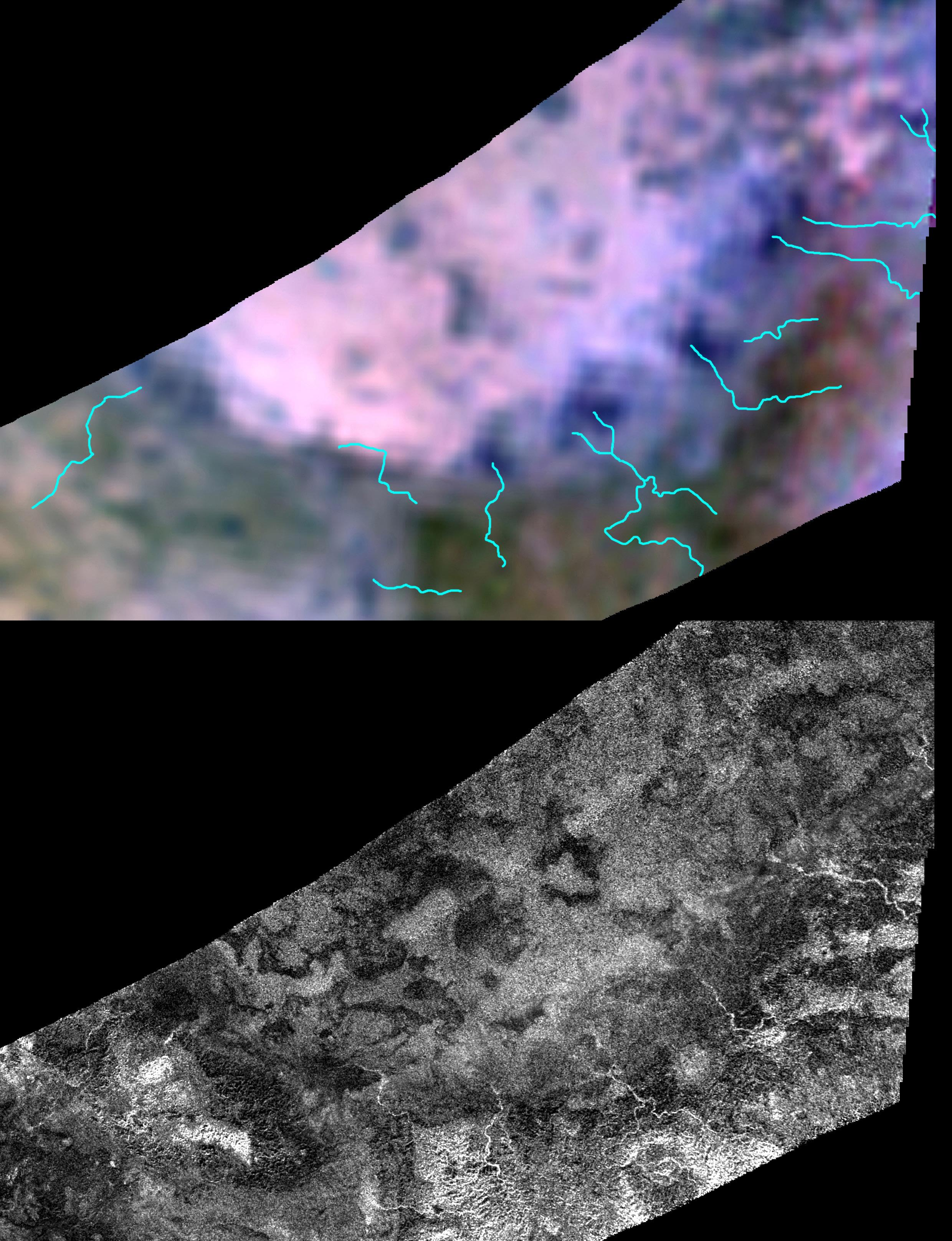 An infrared spectrometer and a RADAR view of Titan's surface