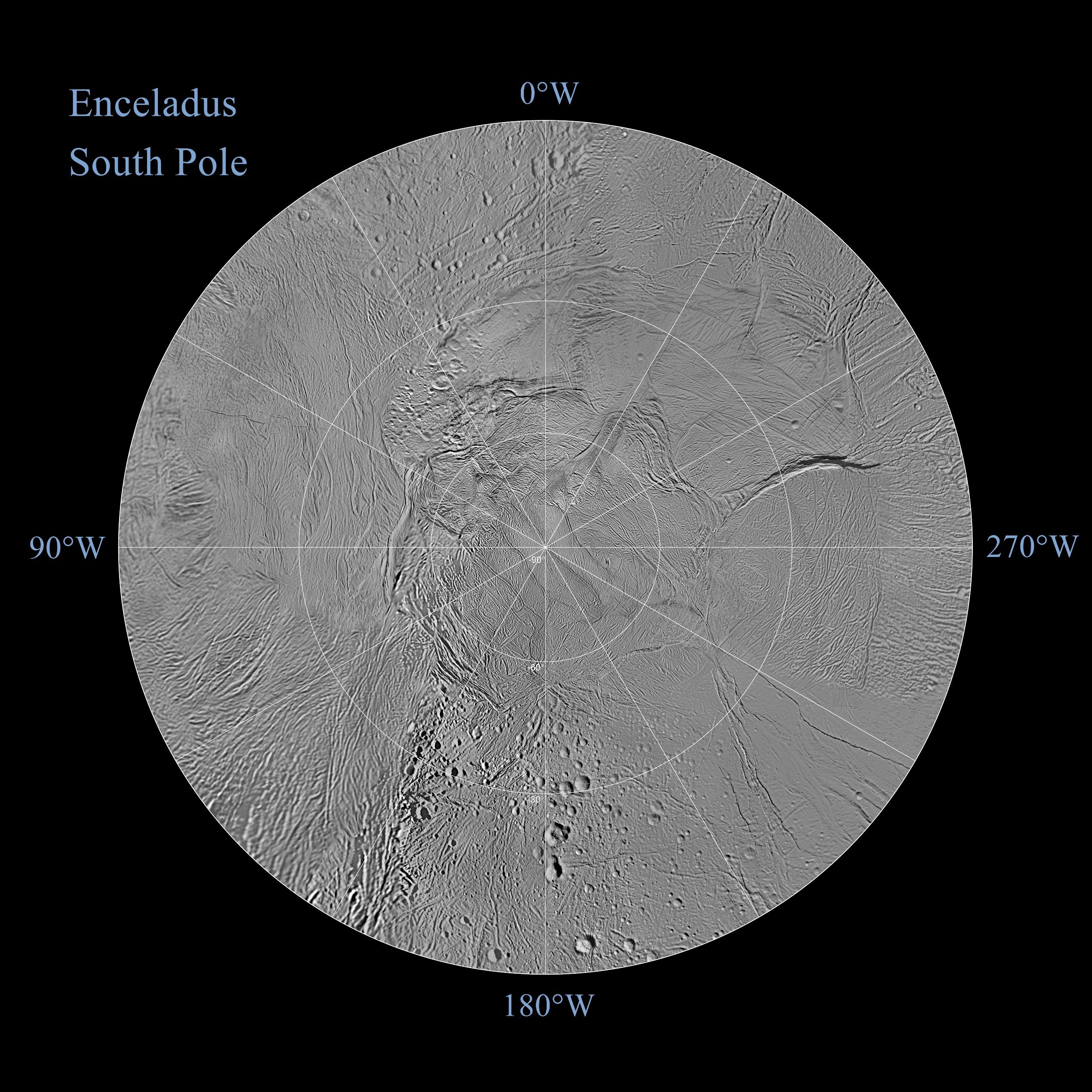 The northern and southern hemispheres of Enceladus are seen in these polar stereographic maps