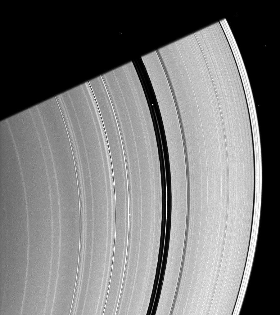 Pan casts a short shadow on Saturn's A ring