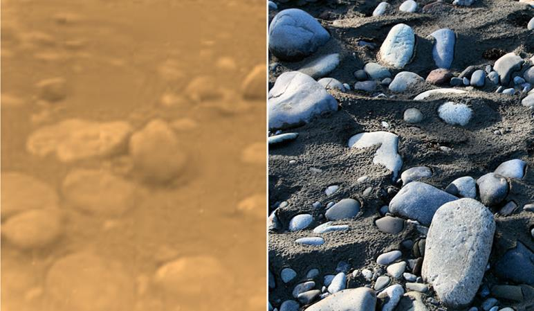 River Rocks on Titan, left, and Earth