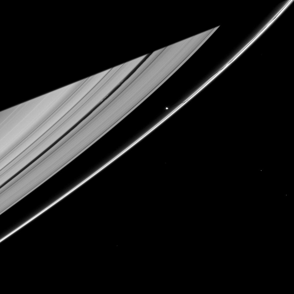 Prometheus casts a narrow shadow on the rings