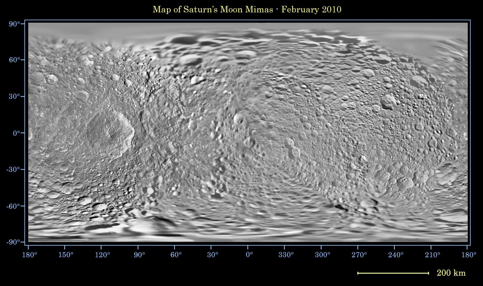 This global map of Saturn's moon Mimas was created using images taken during Cassini spacecraft flybys, with Voyager images filling in the gaps in Cassini's coverage.