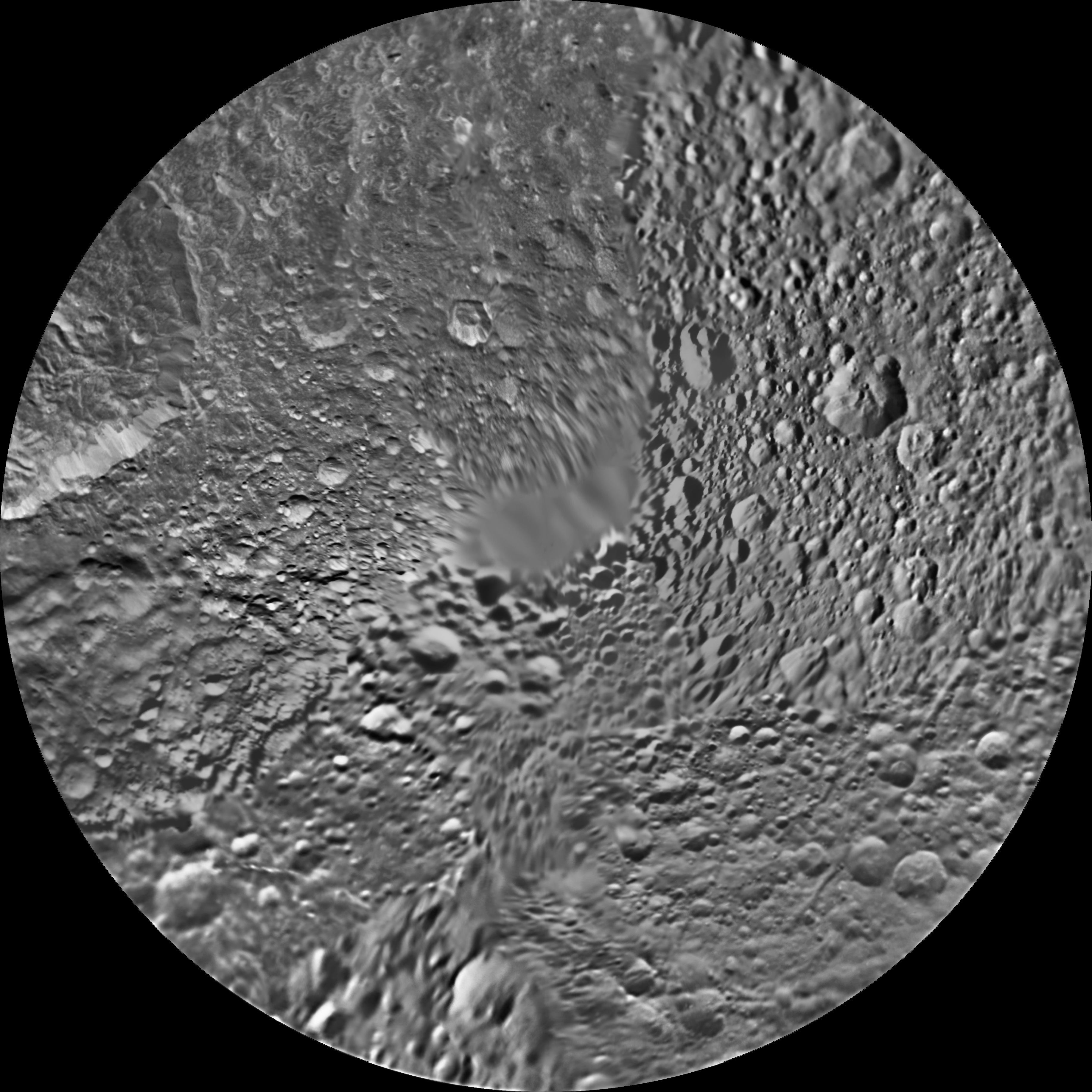 The northern hemisphere of Saturn's moon Mimas is seen in these polar stereographic maps, mosaicked from the best-available Cassini and Voyager images.