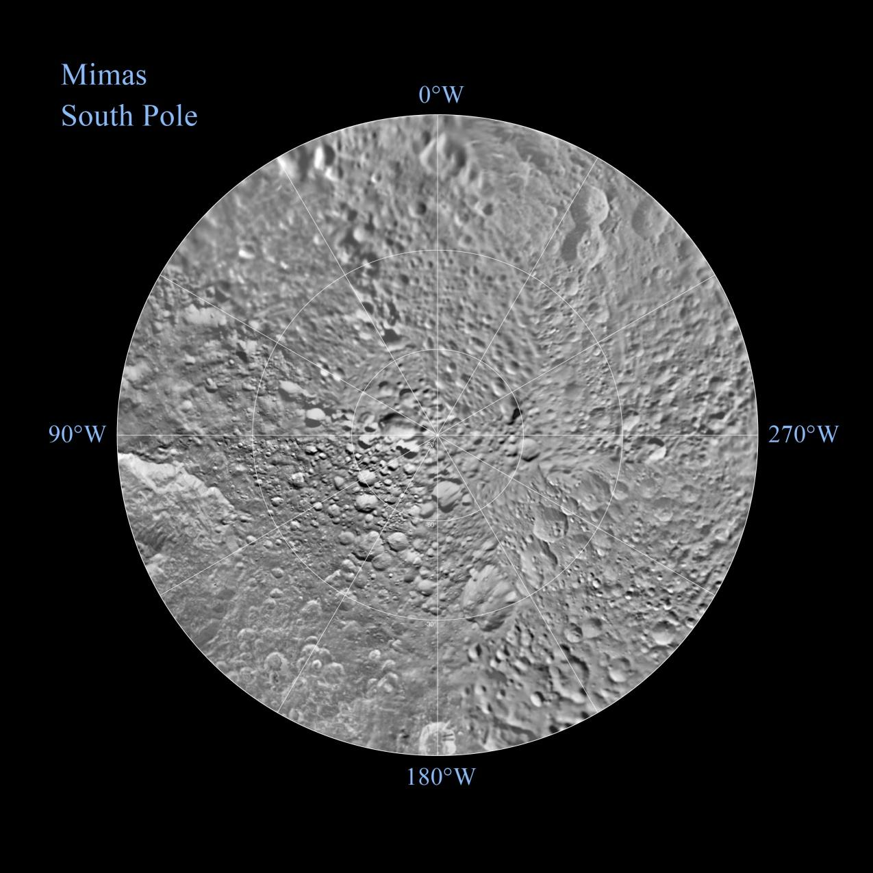 The southern hemisphere of Saturn's moon Mimas is seen in these polar stereographic maps, mosaicked from the best-available Cassini and Voyager images.