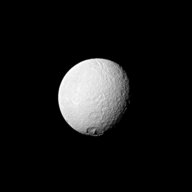 The large crater Melanthius near Tethys's south pole.