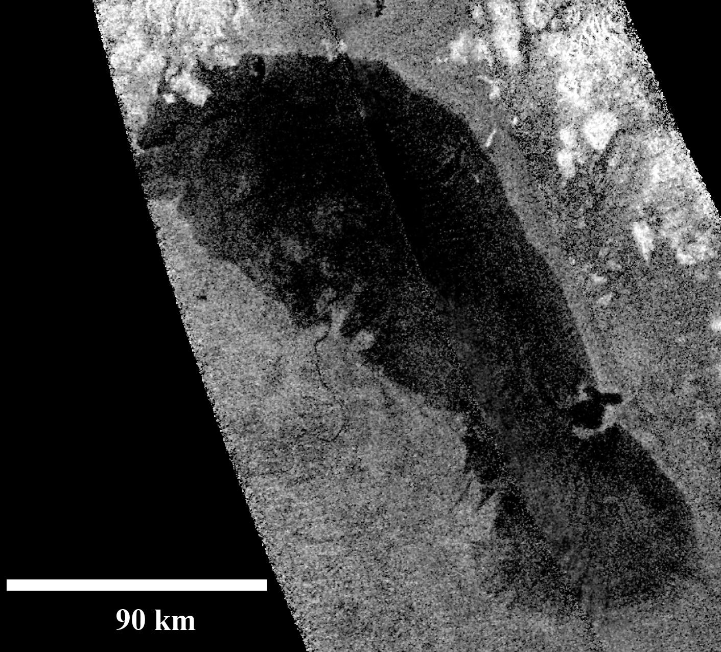 Ontario Lacus, the largest lake on the southern hemisphere of Saturn's moon Titan