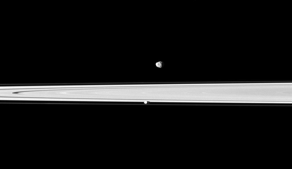 Saturn's rings,  Janus and Prometheus