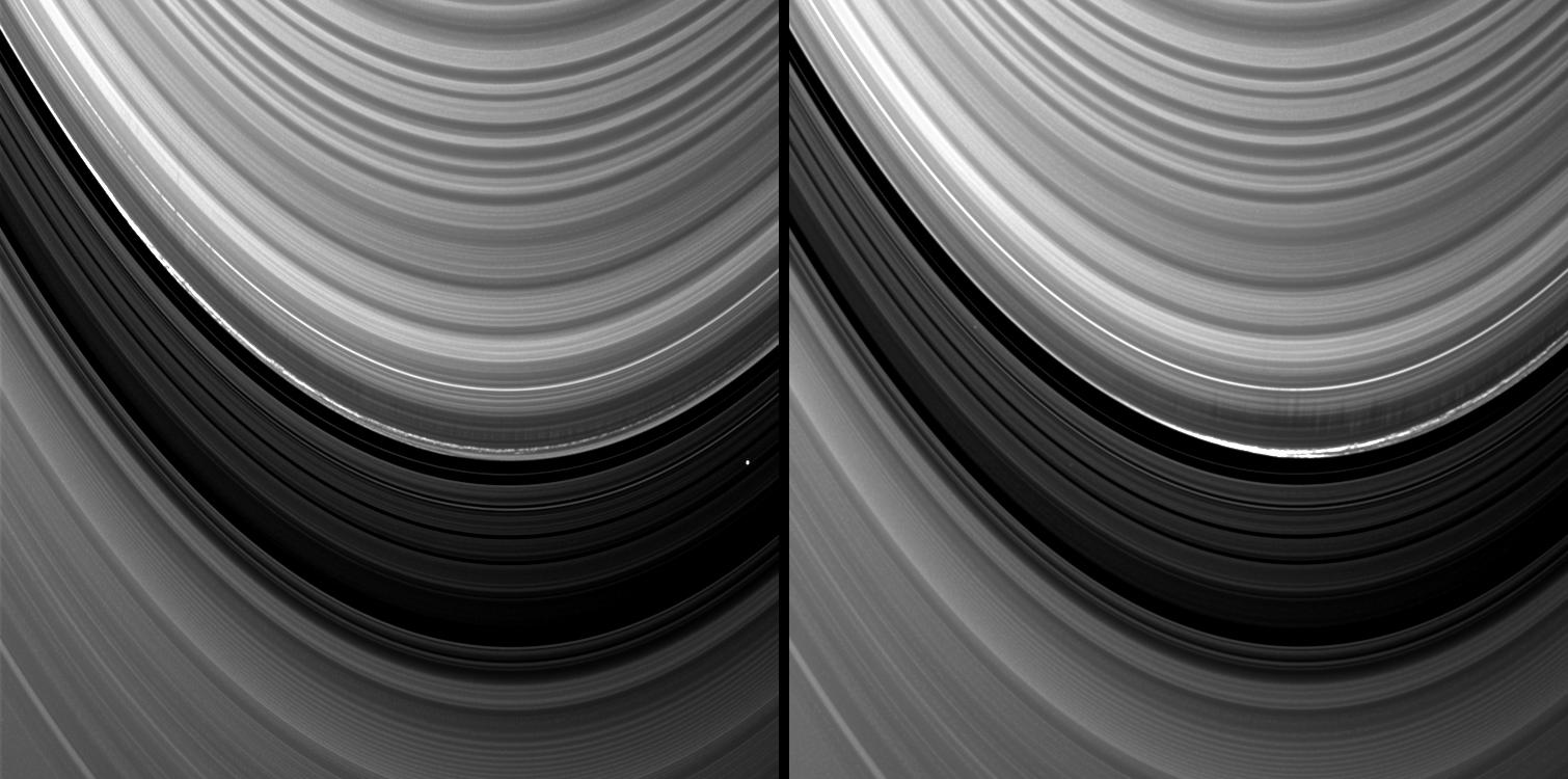 Vertical structures in the variable outer edge of Saturn's B ring cast shadows in these two images captured by NASA's Cassini spacecraft shortly after the planet's August 2009 northern vernal equinox.