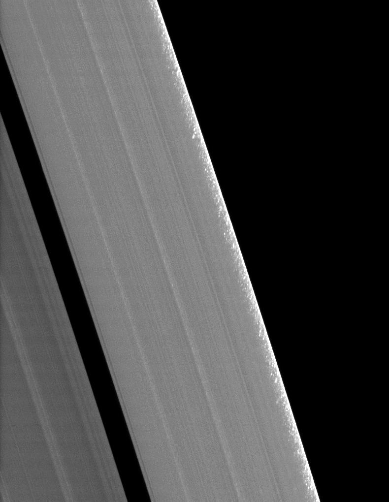 Clumps of ring material along the edge of Saturn's A ring