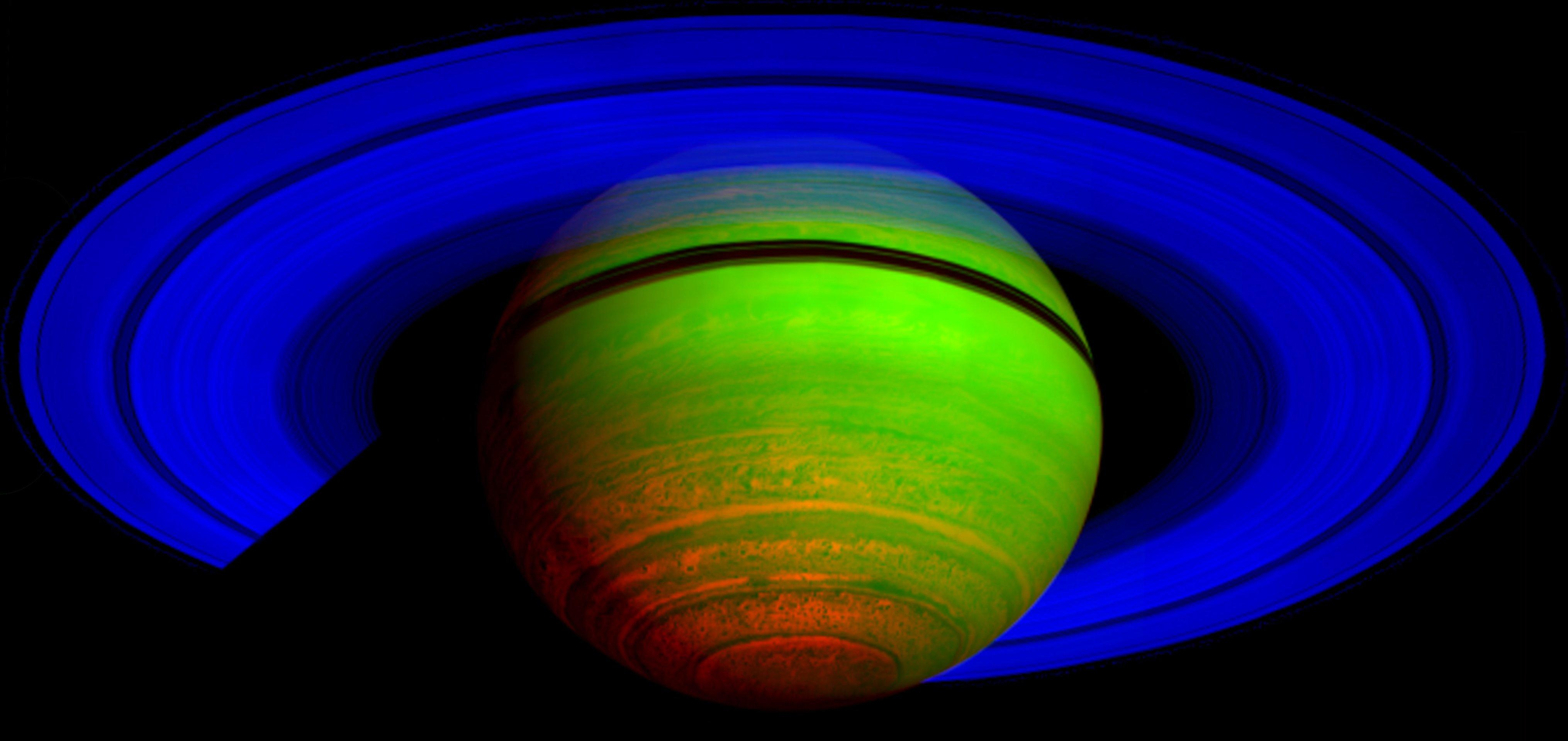 This false-color composite image shows Saturn's rings and southern hemisphere