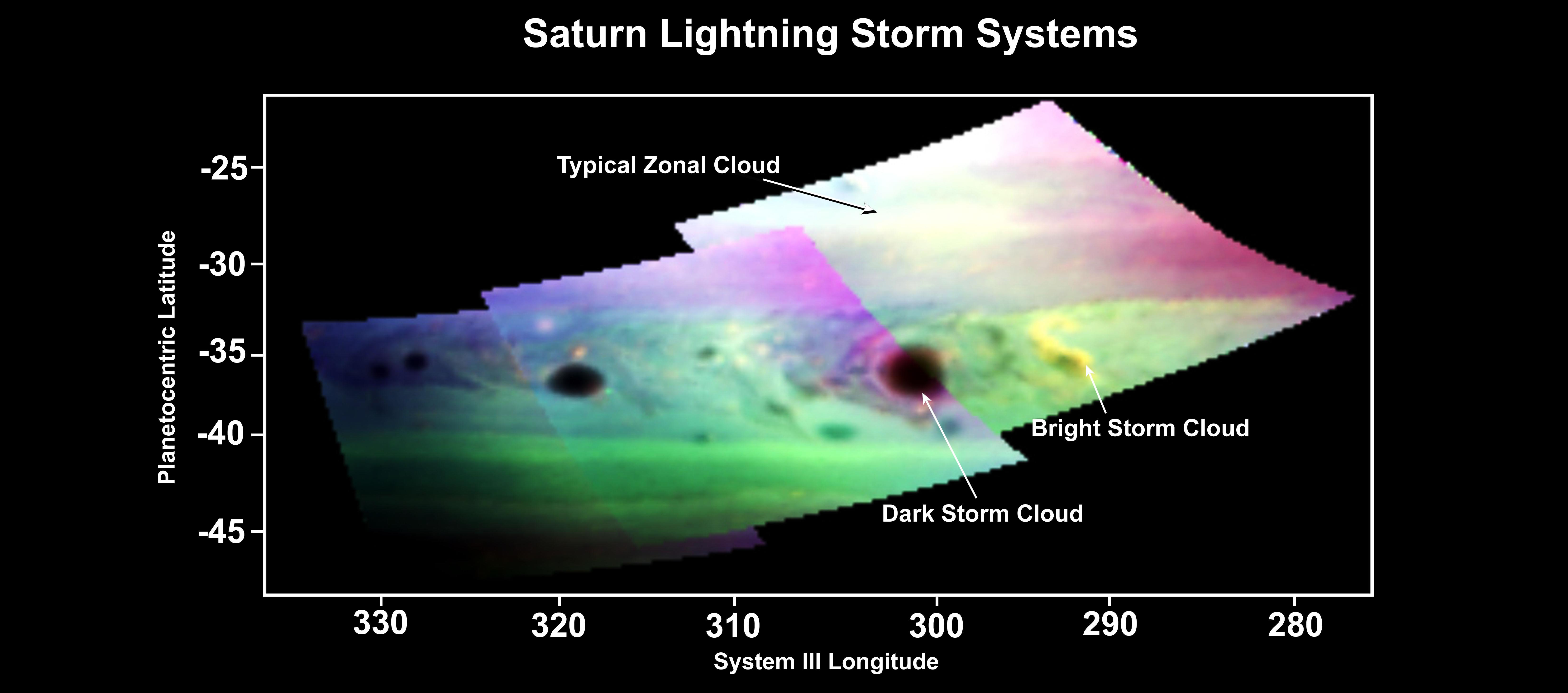 Saturn lightning storm systems