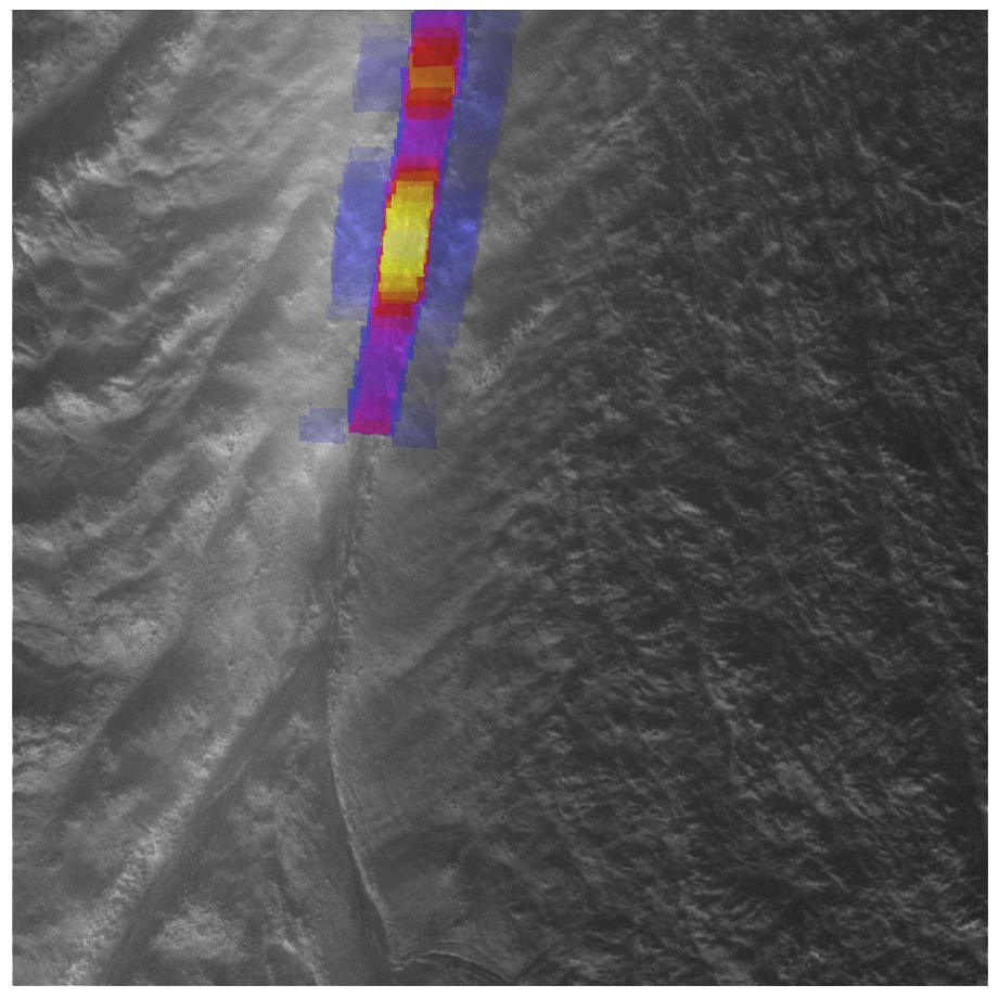 Heat intensity map for the hottest part of a 'tiger stripe' fissure on Enceladus