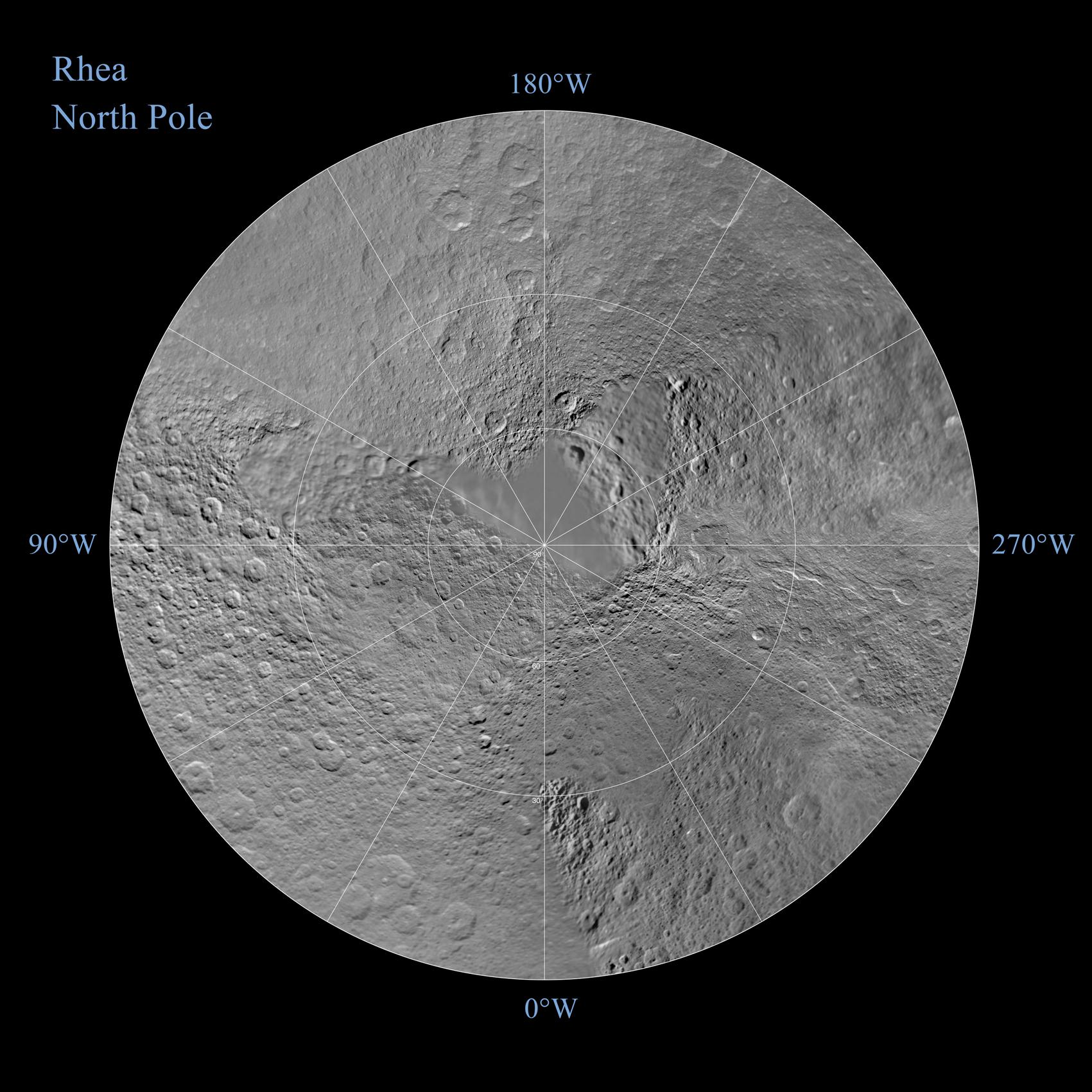 A polar stereographic map of the northern hemisphere Rhea