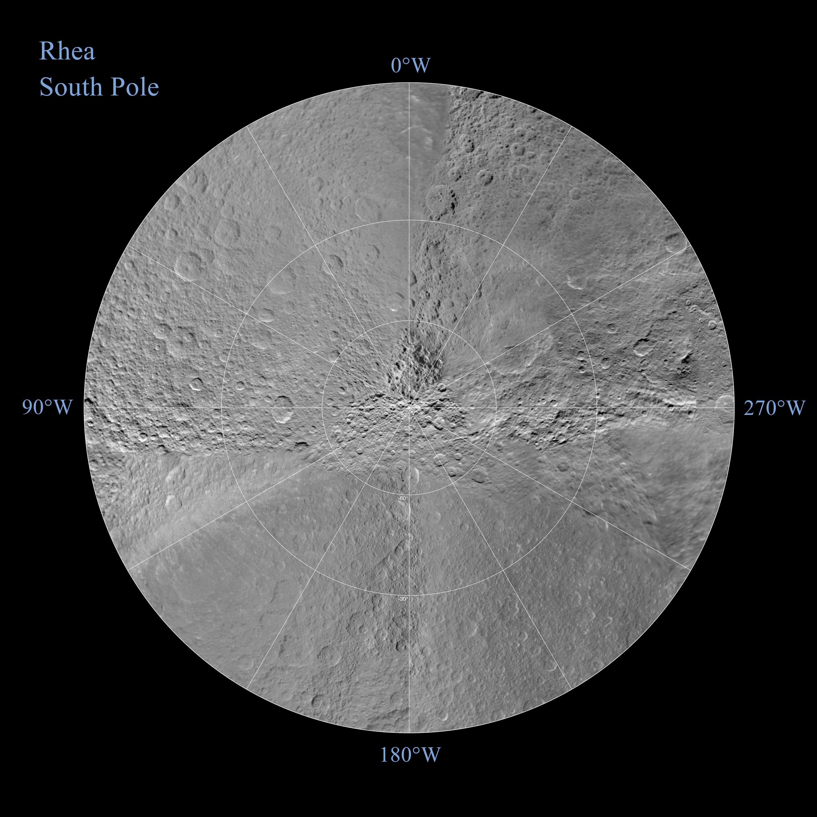 A polar stereographic map of Rhea