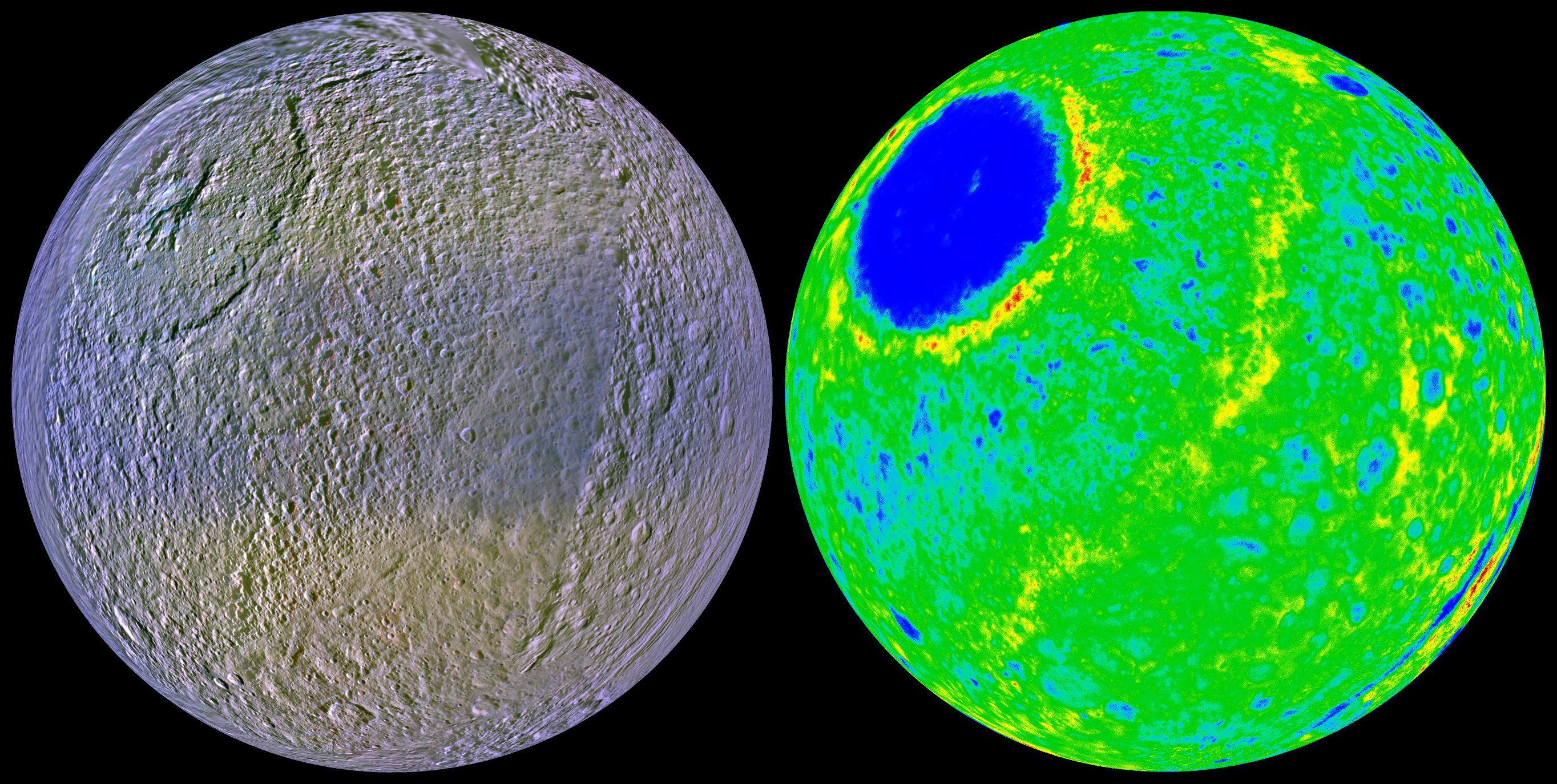 These two views of Tethys show the high-resolution color (at left) and the topography (at right) of the leading, or forward-facing, hemisphere of this 1060-kilometer-diameter (659-mile-diameter) ice-rich satellite.