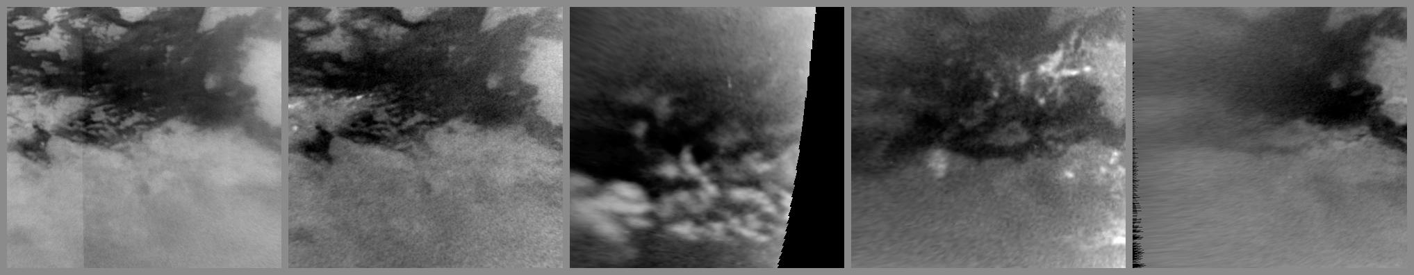 This series of images from NASA's Cassini spacecraft shows changes on the surface of Saturn's moon Titan, as the transition to northern spring brings methane rains to the moon's equatorial latitudes. Some of the most significant changes appear within a period of only a couple of weeks.
