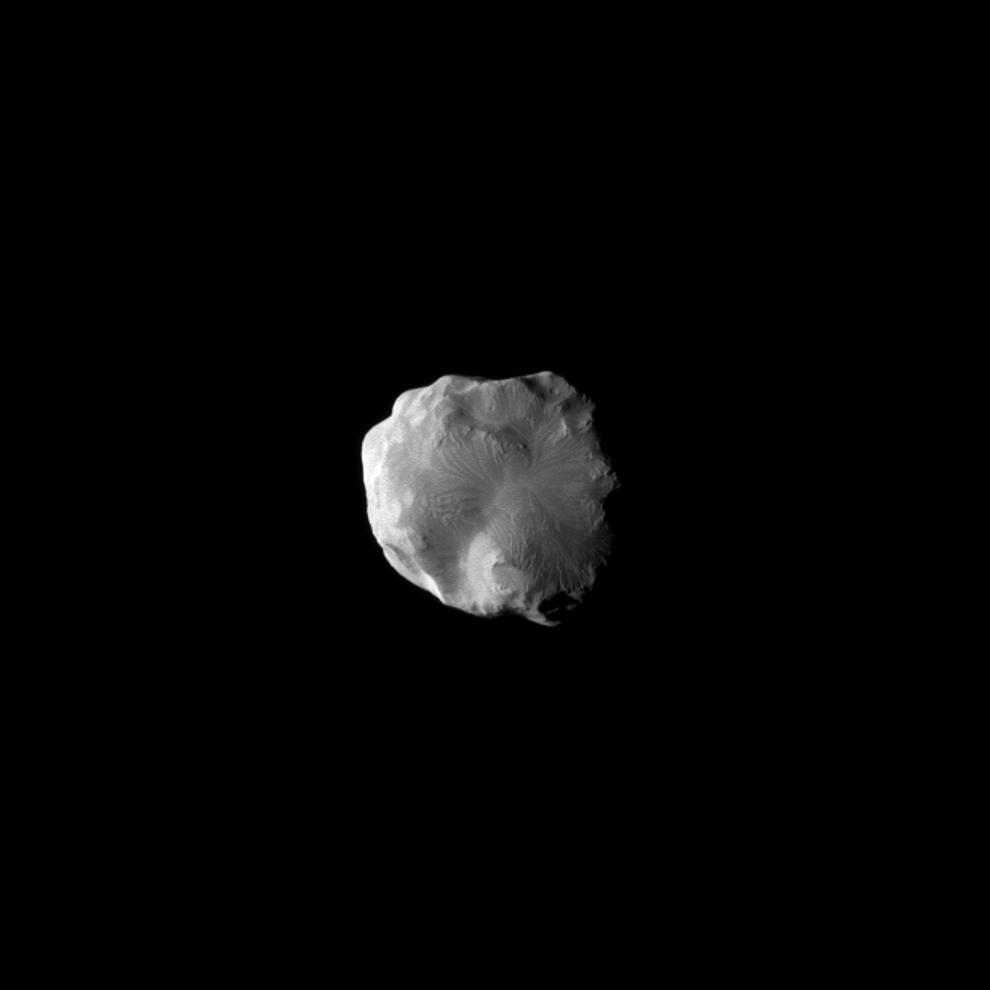The Cassini spacecraft imaged the surface of Saturn's moon Helene as the spacecraft flew by the moon on Jan. 31, 2011.