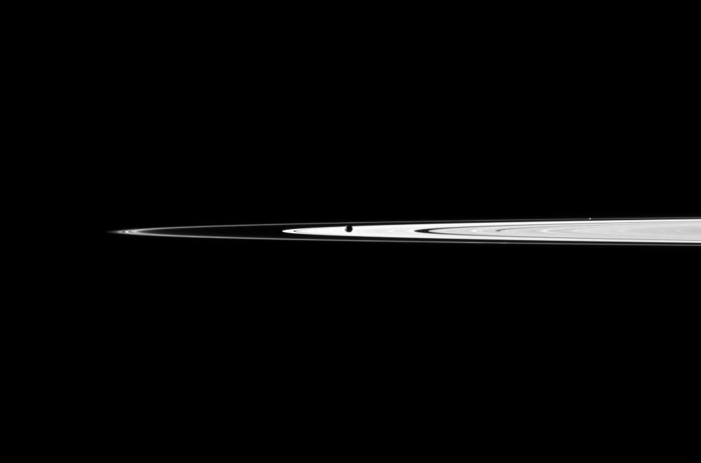 Janus obscures part of Saturn's A ring