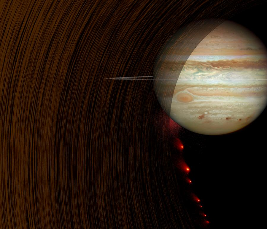 Artist's rendition of comet Shoemaker-Levy 9 heading into Jupiter