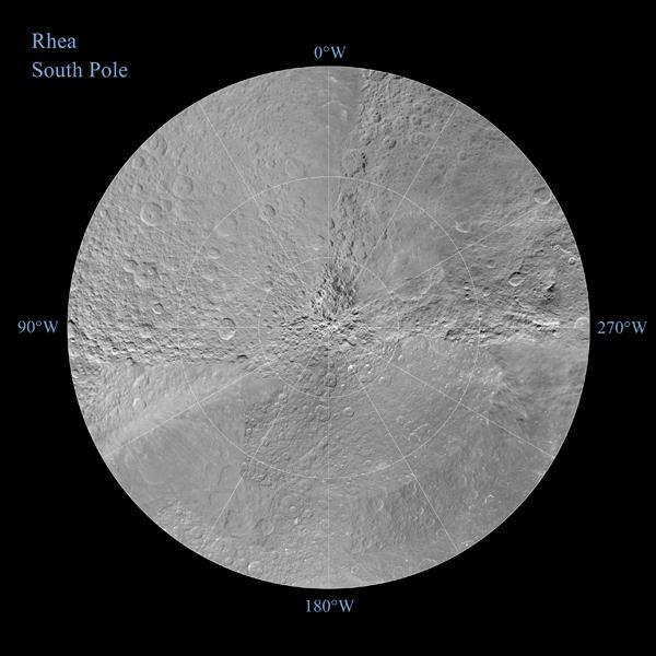 Rhea seen in polar stereographic maps
