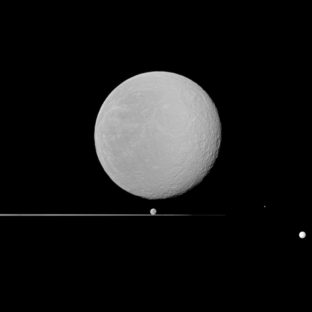 Rhea (in the foreground), Dione, Prometheus, Epimetheus and Tethys