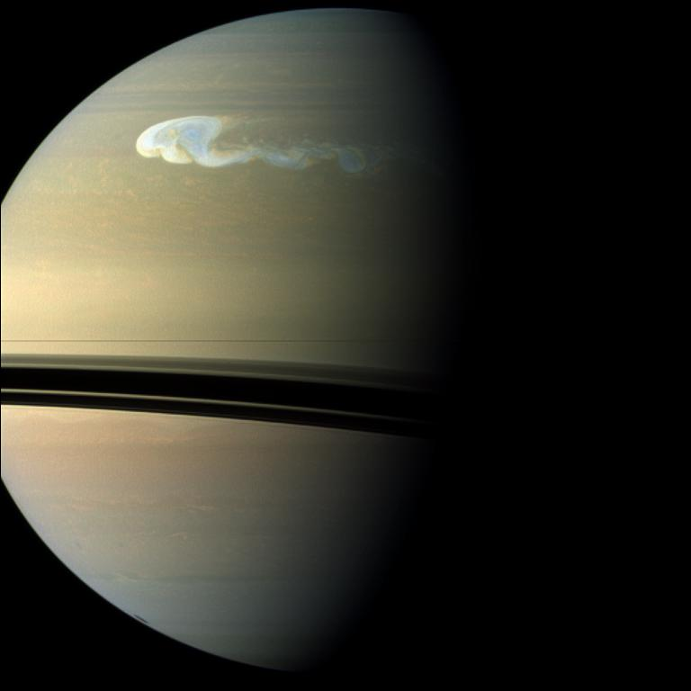 Storm on Saturn seen by Cassini probe, 2010 (NASA)