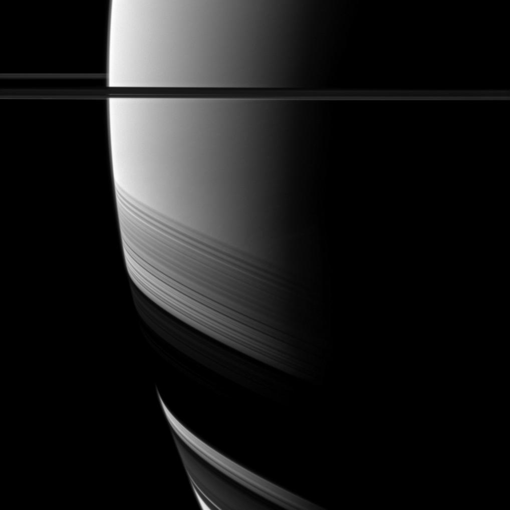 Saturn with shadows of Saturn's rings